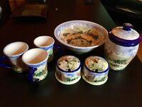 David and Louise Salisbury Pottery set brand new. 3 mugs, cookie jar, bowl and honey and sugar pots