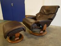 LUXURY LEATHER EKORNES STRESSLESS CAPRI RECLINING CHAIR WITH FOOTSTOOL / RECLINER DELIVERY AVAILABLE