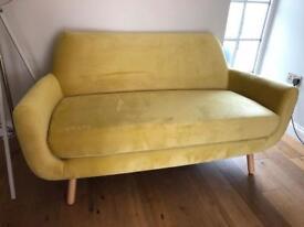 Made Jonah 2 Seater Sofa in Sulphur Velvet RRP £599 Ex display, Great Condition