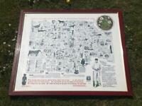 WILFRED RHODES CRICKETER THE OLD YORKSHIRE WASSAIL SONG HAIL & FAREWELL FRAMED GLAZED PRINT