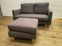 GREY FABRIC SOFA AND FOOTSTOOL IN GOOD CONDITION
