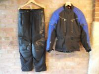 Biker's jacket and trousers.