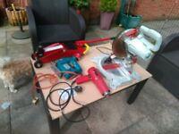 Tools jigsaw.heat gun.mitre saw hydrolic trolley jack