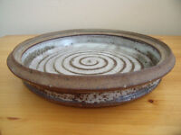 Studio pottery plate/shallow dish - central spiral design. £4 ovno.