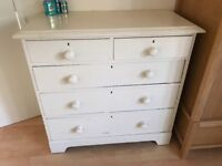 White painted chest of drawers