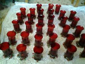 33 Xmas berries large red glass candle vases