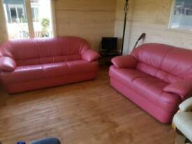 Set of Pink/Red 3 Seater and 2 Seater Sofa's *FREE LOCAL DELIVERY* Couch Suite