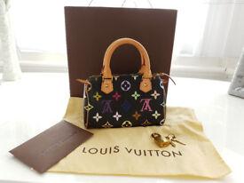 100% Genuine Louis Vuitton Takashi Murakami Noir Multicolour Mini HL Sac Speedy Handbag With Dustbag