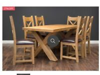 5 FT SOLID OAK X TABLE AND 6 CHAIRS