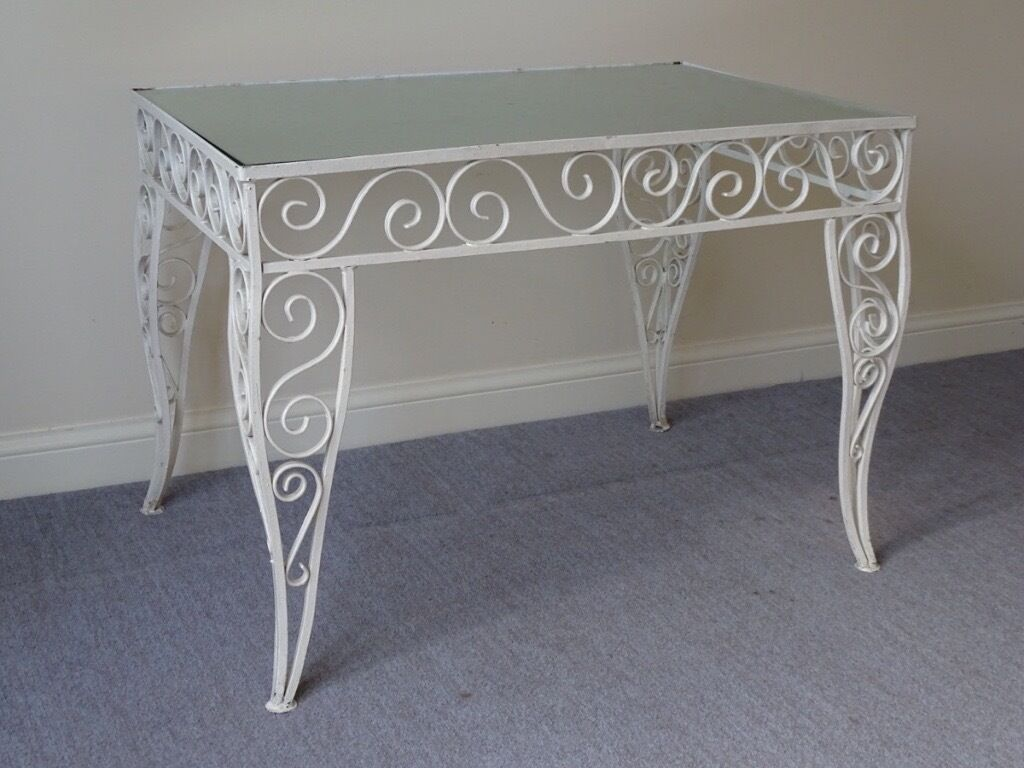 Vintage white wrought iron table glass top conservatory coffee vintage white wrought iron table glass top conservatory coffee table geotapseo Image collections