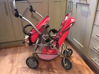 CHILDRENS PUSHCHAIR DOUBLE BUGGY CHIC 2000 ADJUSTABLE SEATS AND HANDLE C/W RAINCOVER GOOD CONDITION