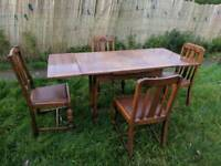 Antique vintage solid wood dining table and chairs