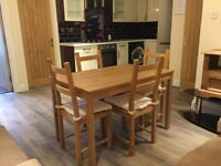 Pine dining table & chairs ( like new )