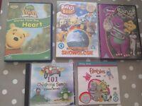 Children's DVDs and music CD Barney Dinosaur + Winnie Pooh + Rupert Bear