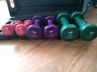 York Dumbells 2x 0.5kg, 2x 1kg & 2x 1.5kg in carry case