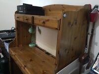 Lovely, solid wooden desk with pin board and plenty storage space