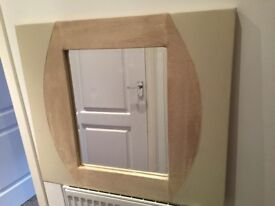 Stunning Cream Leather and Suede Mirror