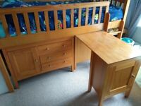 Wooden M&S cabin bed / mid-sleeper with 2 cupboards
