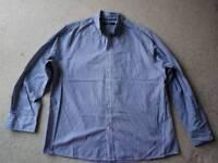 Maine New England shirt, blue stripes, size large,