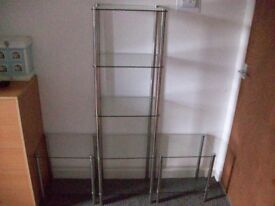 A SET OF 3 GLASS SHELVES