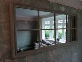 Shabby chic window pane mirror