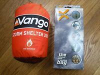 Vango 200 Storm shelter and Blizzard emergency blanket