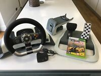 MICROSOFT XBOX 360 OFFICIAL FORCE FEEDBACK STEERING WHEEL AND PEDALS with FORZA HORIZON. GENUINE.