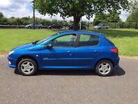 06 Blue Peugeot 206 verve 5 dr hatchback