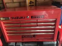 Clarke 9 Draw Heavy Duty Large Red Tool Box with no tools not Snap on Blue Point Mac