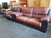 Large brown leather two seater sofa with matching armchair