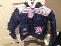 bnwt £20 Tu peppa pig coat with gloves 5-6 pink lining beautiful item