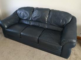 Blue 3 & 2 seater Leather Sofa