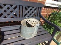 Vintage look mop bucket for planting - garden pot