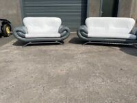 Grey leather 3&2 seater sofas, couches, furniture 🚚🚛
