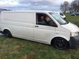 VW T5 LWB t30 130 bhp 6 speed van. Lowered on gaz ultra low coilovers sitting on rota grid wheels