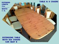 Dining Table & Chairs ( 6 )