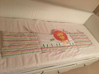 NEXT Cot coverlet, cot bumper, cot music mobile and matching 3x canvas