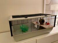 Spacious Hamster Cage + Wheel + Flying Saucer + Bottles + Bowl + Furniture!