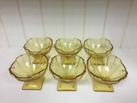 Set of Six vintage retro original 60s 70s yellow / gold style glass dessert dishes SDHC