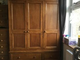 Large 3 door Oak Wardobes, chest of drawers and bedside cabinets