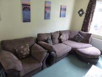 Embrace Left hand corner sofa, standard chair, and half moon pouffe, chocolate brown