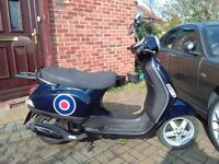 2005 Vespa LX 50 automatic scooter, new 1 year MOT, de-restricted, does 45mph, fast little runner,,