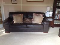Chocolate brown leather sofa & armchair