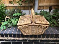 Vintage Wicker picnic Double lidded Basket hamper