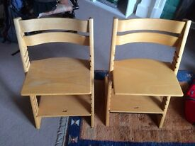 Original Stokke Tripp Trapp Chairs/ High Chairs - Natural Wood- Fully Adjustable - Babies/Children