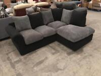 Brand new black and grey corner sofa