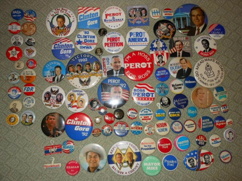 94 Political Pin/Button Lot  Perot Eastwood LBJ Reagan Clinton Kennedy Nixon..