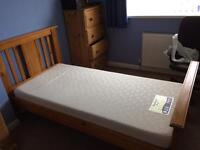 Solid Pine Single Bed & Memory Foam Mattress