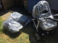 Baby pushchair 3 in 1 grey