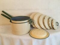 Vintage Judge Ware Cream and Green Enamel Saucepans and Lids